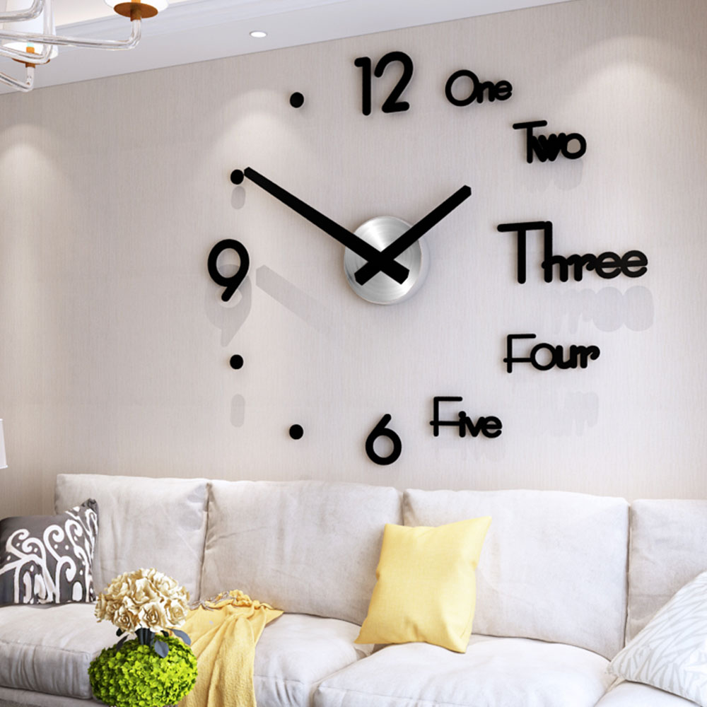 DIY Digital Wall Clock 3D Sticker Modern Design Large Silent Clock Home Office Decor Wall Watch
