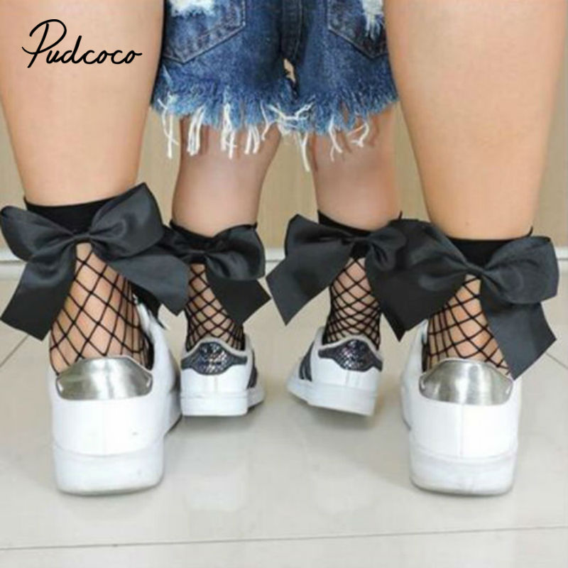 1Pair Women Baby Girls Kids Mesh Socks Bow Fishnet Ankle High Lace Fish Net Vintage Short Sock Fashion Summer 2019 Sale One Size