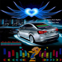 цена на Car Sticker Music Rhythm LED Jump Flash Light Lamp Car Rear Windshield Sound Activated Equalizer Decorative Light Styling 12V