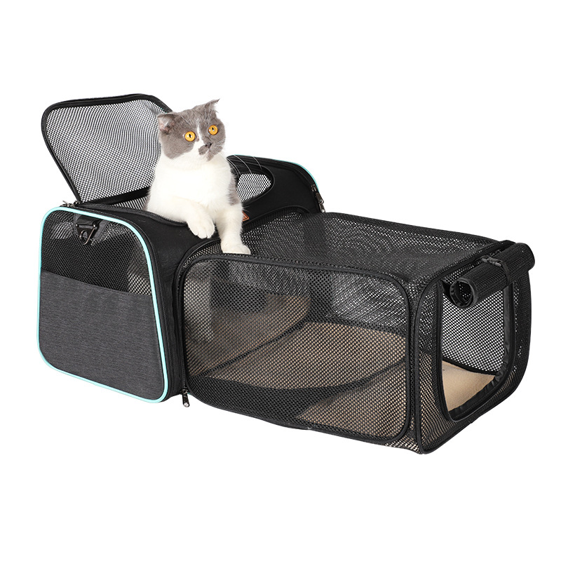 Mascota Perro Gato Cachorro Bolsa de transporte cesta Tela viajes Jaula Crate Lavable Plegable