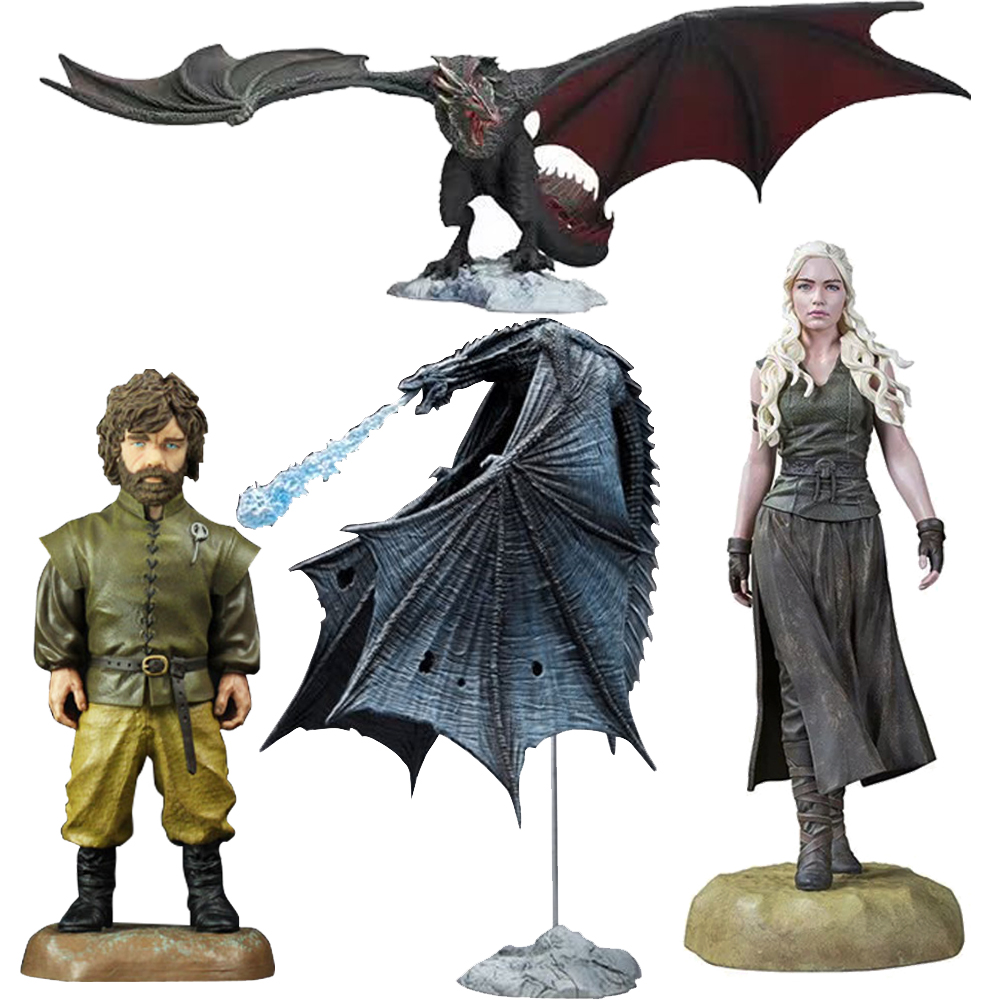 A Song Of Ice And Fire Game Of Thrones NIGHT KING ICY VISERION Daenerys Rides Drogon Anime PVC Action Figures Toys Anime Figure