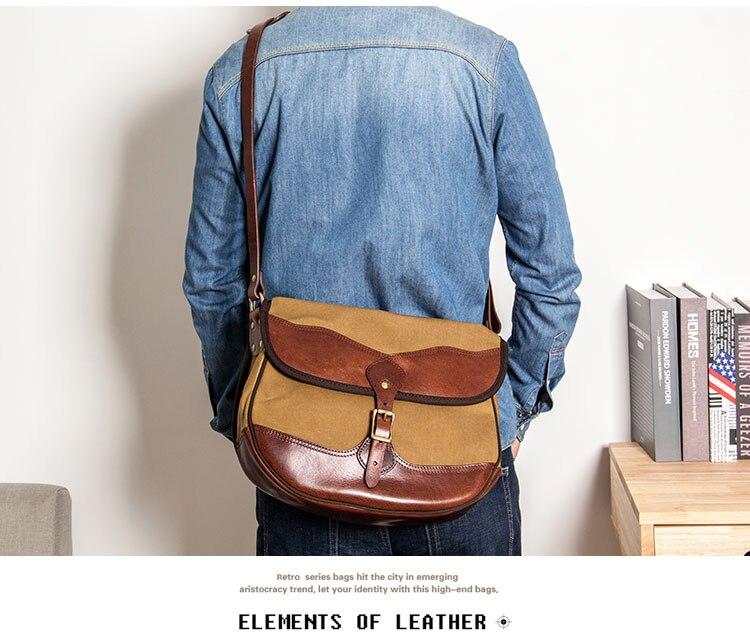 Bolso de hombro de cuero hecho a mano de la vendimia de MAHEU bolsos de cuerpo cruzado de lona de cuero para hombre de cuero de vaca bolsos escolares Retro los hombres bolsa - 3