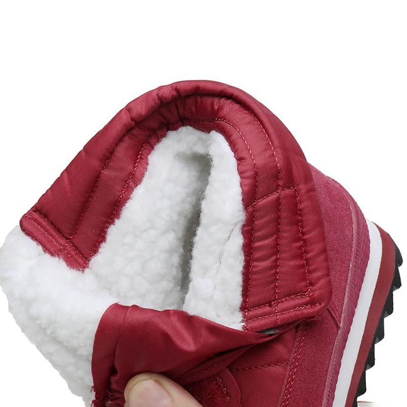 Image 4 - Women snow boots 2019 fashion solid non slip waterproof winter boots women boots plush warm women shoes hook&loop ankle boots-in Ankle Boots from Shoes
