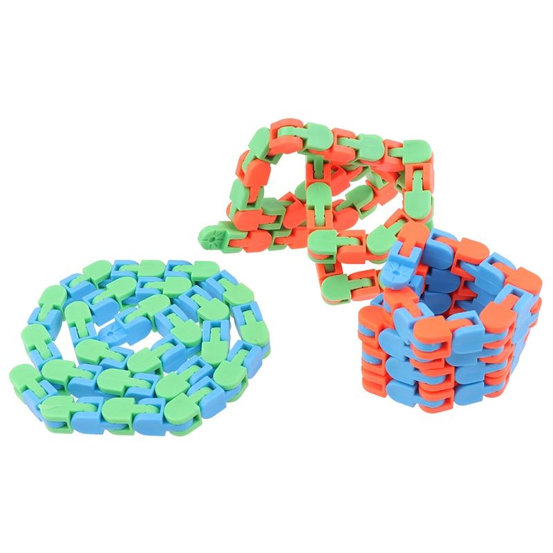Sensory Toy Fidget-Toys Autism Wacky Tracks Snap Multicolor Kids Classic 1pc Click Snake