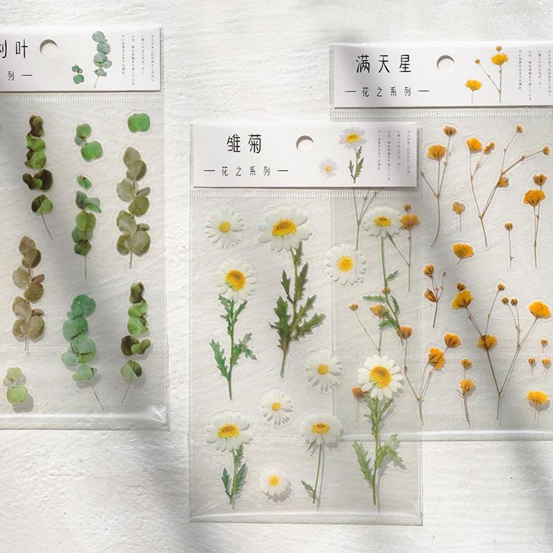 Yoofun Daisy Clover Babysbreath Fern Transparent PET Stickers Flowers Leaves Plants Sticker for Scrapbooking Bullet Journal Deco