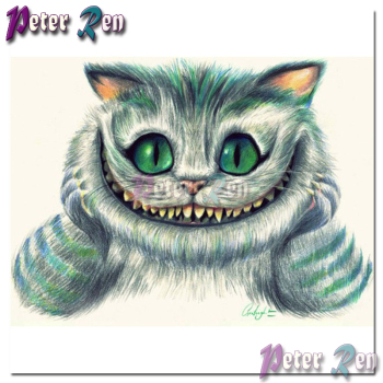 DIY animal Sleepwalking Cheshire Cat Diamond Painting Embroider Square or round Mosaic Cross stitch Rhinestone Home Decoration image
