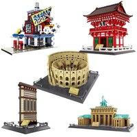 Şehir serisi tuğla Brandenburg kapısı almanya uyumlu Lepining şehir mimari yapı blok oyuncaklar çocuklar için noel hediyesi