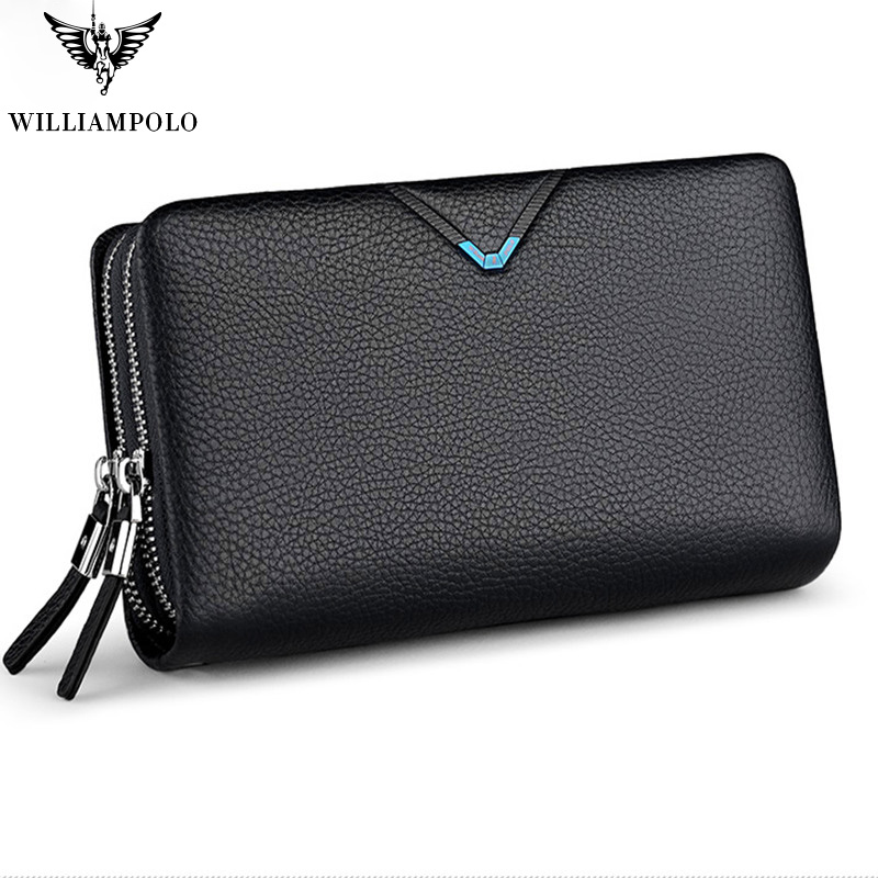 Men's Clutch Bag WILLIAMPOLO Clutch Wallet Genuine Leather Flap Handbag Zipper Hand Strap Clutches Man Purse Cowhide Luxury Gift