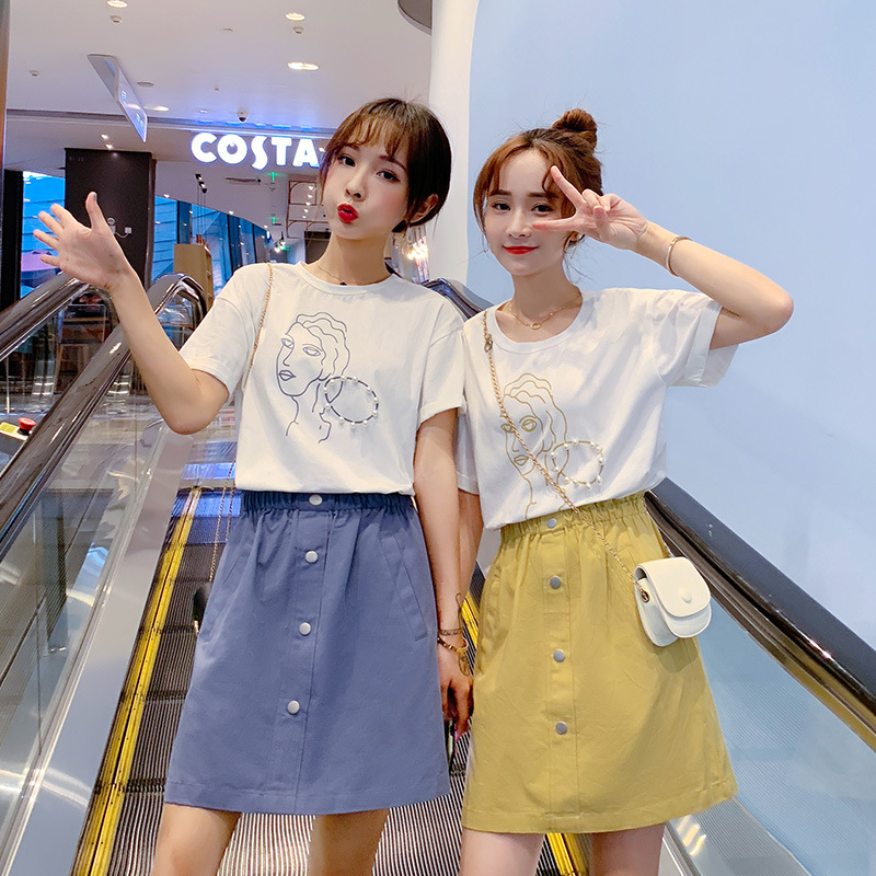 Summer Online Celebrity Short-height Short Best Friend WOMEN'S Suit Two-Piece Set Western Style By Age Sisters Outfit Skirt