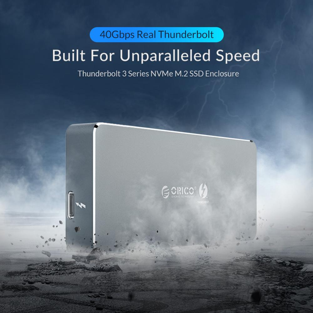 Image 2 - ORICO Thunderbolt 3 40Gbps NVME M.2 SSD Enclosure 2TB Aluminum Type C with 40Gbps Thunderbolt 3 C to C Cable For Mac WindowsHDD Enclosure   -