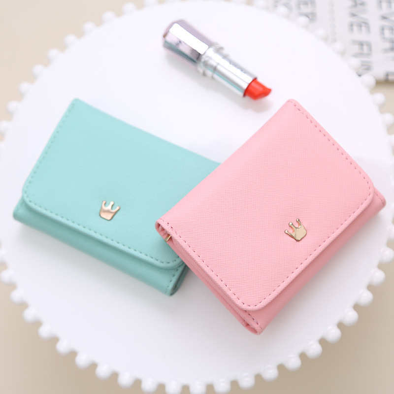 2019 Wallet Women Lady Short Women Wallets Crown Decorated Mini Money Purses Small Fold PU Leather Female Coin Purse Card Holder