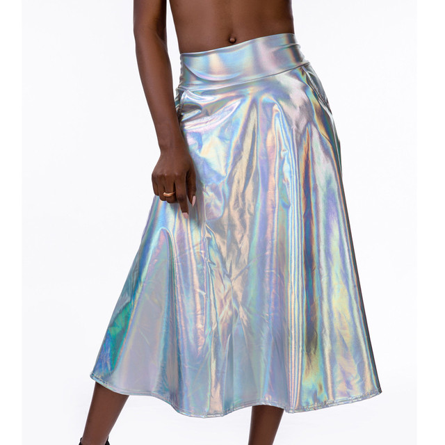 Women Mid Calf Skirts Shiny Holographic Pu Laser A Line Wet Look Loose Skirts With Pocket Summer Party Club Lady Chic Skirt #Z4 5