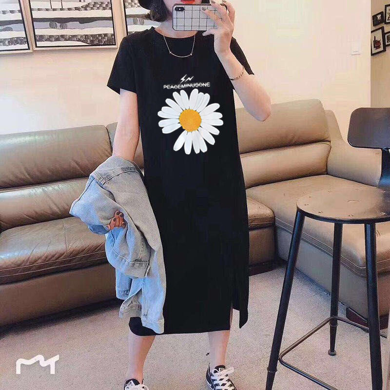 100% Cotton O-Neck Short Sleeve Tops Women 2020 Long T-shirt Dress Summer Clothe New Fashion Printing Loose Gray Black Tee Shirt