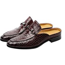 Muller sapatos masculinos chinelos de couro chinelos casuais fivela de metal chinelos de escritório zandalias de moda 2021 xm133