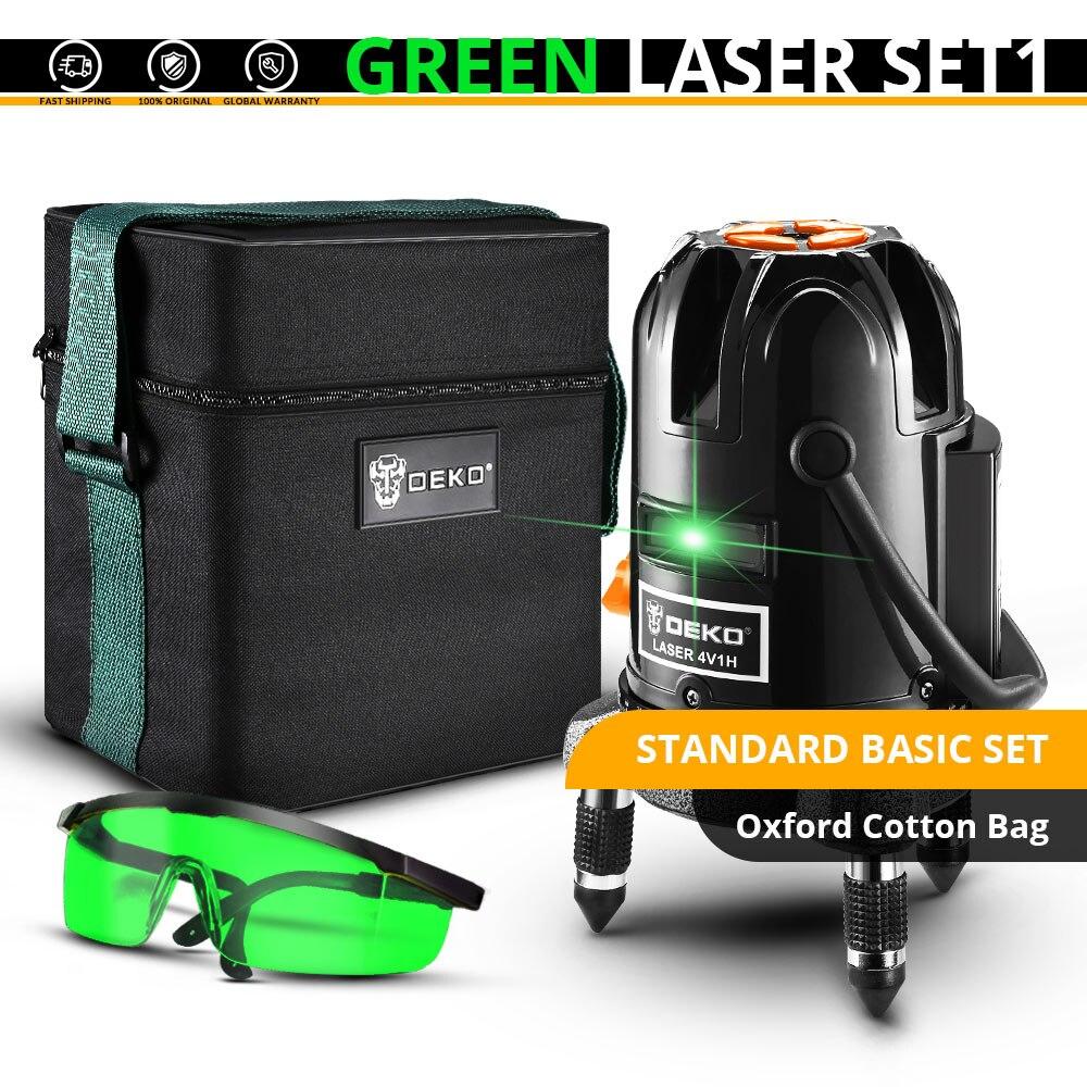 DEKO 5 линий 6 очков лазерный уровень автоматическое самонивелирование 360 вертикальные и горизонтальные наклона Открытый режим можно использовать w/приемник - Цвет: DKLL501-SET1