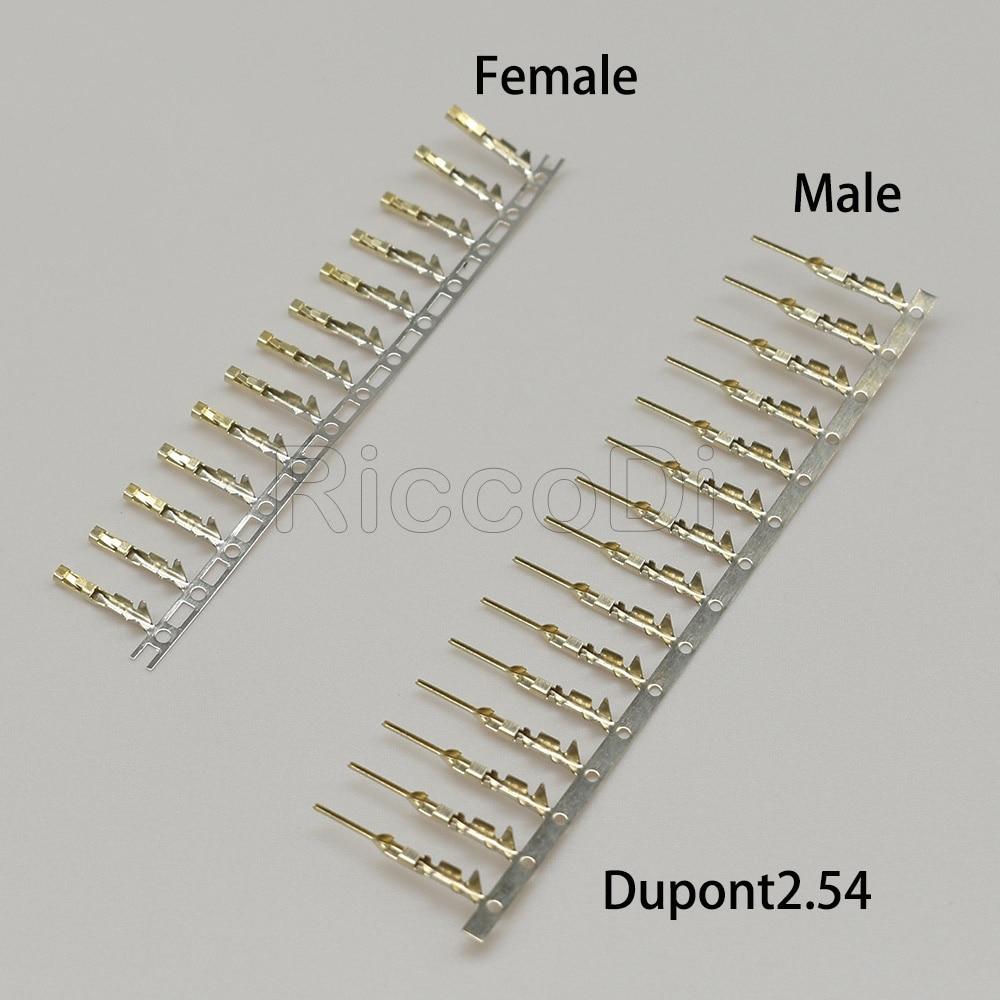 Conector dupont banhado a ouro 100/200 peças, para metade, conector dupont, sem tinta, cobre 2.54mm, terminal de metal, fêmea ou macho pino frete grátis,
