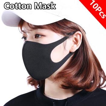 10 Pcs Washable Mouth Mask Black Cotton Cloth PM25 Filter Respirator Dust Proof Fashion Face Masks Reusable FPP2 Adult PM2.5