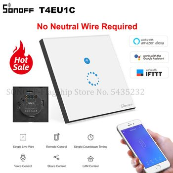 Itead SONOFF T4EU1C No Neutral Wire Required Switch Wifi Smart Wall Touch Light Switch Single Fire Wire Switch e-Welink Control