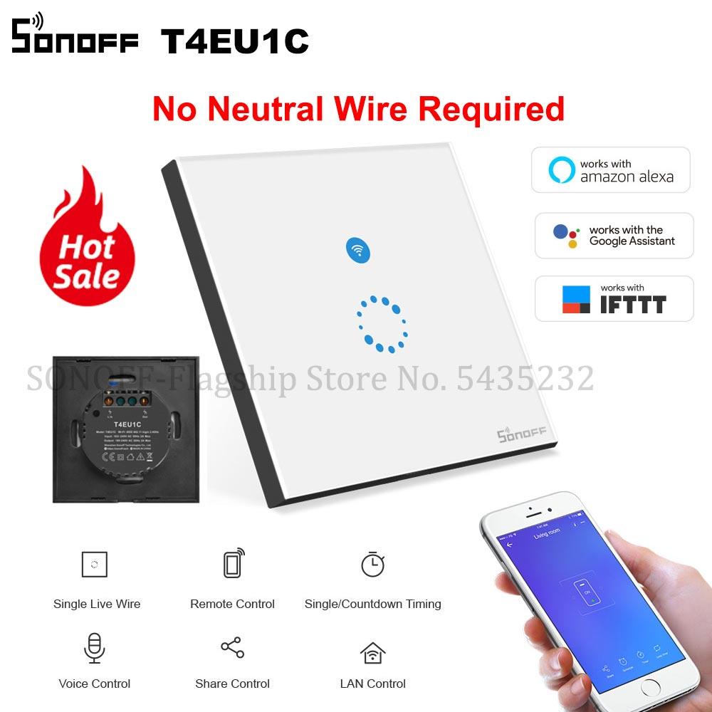 Itead SONOFF T4EU1C не требуется нейтральный провод переключатель Wifi умный настенный сенсорный светильник переключатель одиночный пожарный провод переключатель e Welink управление работать с Алиса|Смарт-гаджеты|   | АлиЭкспресс - sonoff