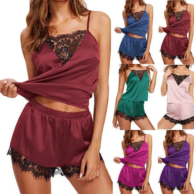Women Sexy Lingerie Pajama Sets Sleeveless Strap Sleepwear Trim Satin Cami Nightwear NightGowns Sexy Lingerie For Women Porno