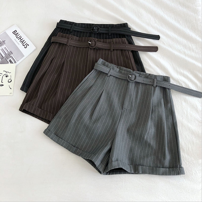 Vertical Striped Casual Shorts Female 2020 New Korean Version Of The Ins Student Loose Curled Wide Leg  With Belt