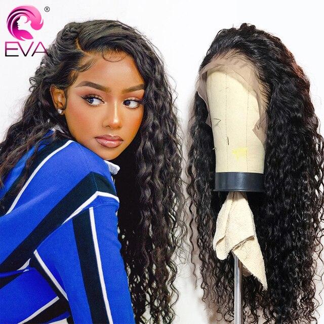 Peluca de ondas profundas de cabello Eva, pelucas de cabello humano sin pegamento, con encaje frontal rizado brasileño prearrancado para mujeres negras, cabello Remy