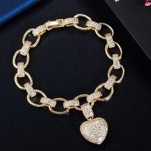 CWWZircons Liebe Herz Charme CZ Zirkonia Gelb Gold Bohemian Link Kette Armbänder für Frauen Femme Modeschmuck CB200