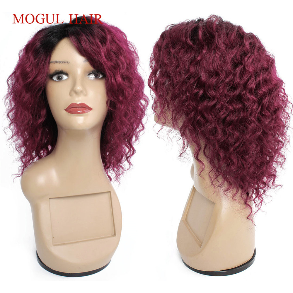 Mogul Hair Cheap Human Hair Wigs Machine Made Wig Ombre Honey Blonde Burgundy Deep Wave Short Hair Style Brazilian Non-Remy Hair