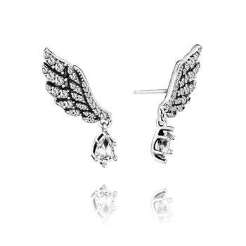 цена на 2020 Women Earrings 1 Pair 925 Sterling Silver Stud Earrings Fashion Angel Wings Charm Earrings Charms 2020 Women Gift