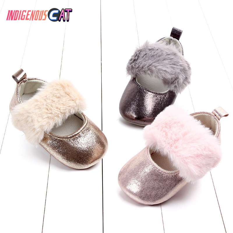 Baby Shoes Summer Fashion Faux Fur Cute Infant Baby Boys Girls Shoes Soft Sole Indoor Shoes For 0-18M Kids Shoe
