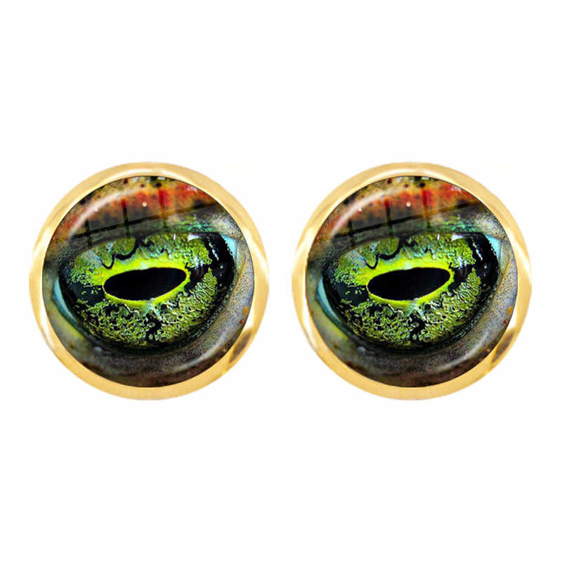 Nouveau Dragon serpent hibou chat tigre boucles d'oreilles feu Dragon bijoux verre Cabochon animaux yeux boucles d'oreilles pour femmes filles cadeau