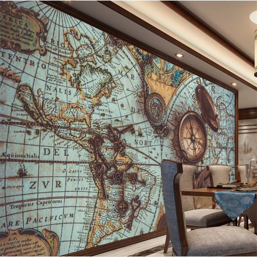 Wellyu Customized Large 3D Wallpaper Retro World Map Pocket Watch Wallpaper Family Living Room Bedroom Background Wallpaper