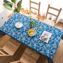 Wave Table Cover Rectangle Printing Tablecloth for Restaurant Household Decoration Mantel Mesa Tablecloth