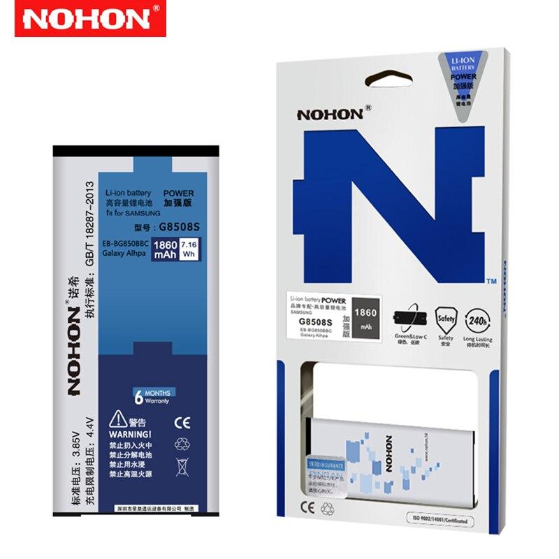 NOHON Bateria Original Para Samsung Galaxy Alpha G850 G850F G8508S Batterie Li-ion Para EB-BG850BBC SM-G850M 1860mAh Da Bateria Do Telefone