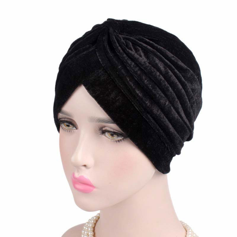 2019 New Fashion Neon Casual Double Stretch Gold Velvet Turban Headwrap Turban Hat Women Hijab India Hat Muslim Chemo Cap Bonnet