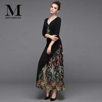 Micosoni High End Quality 2020 Spring New Retro Style Women's V neck Cotton Panel Chiffon Pleated Printed Dress Plus size S XXL