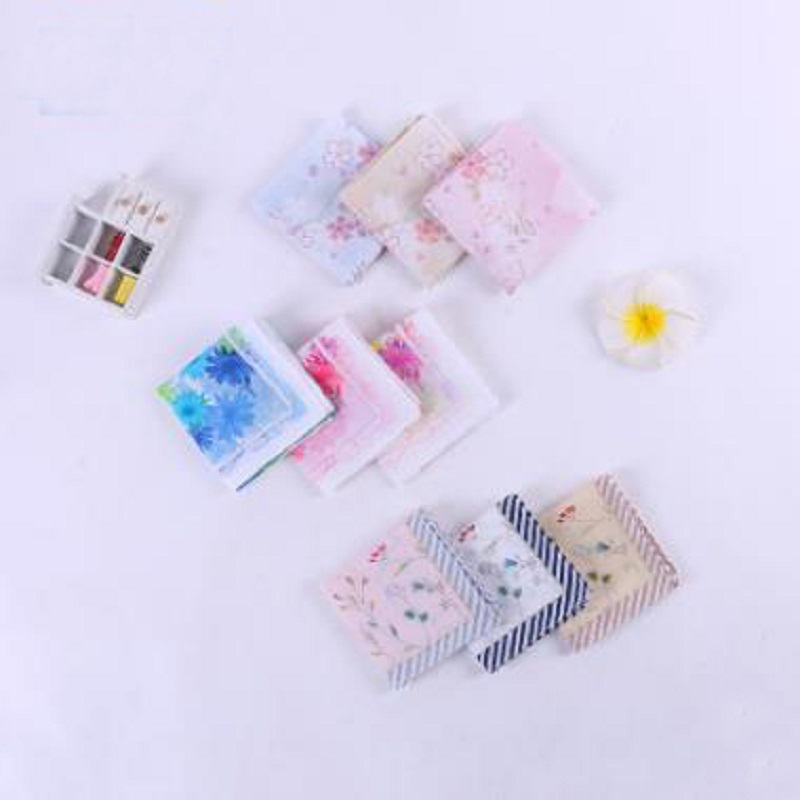 12 Pcs/lot 100% Cotton Solid Printed High-end Women  Handkerchief   Export Item 45cm*45cm