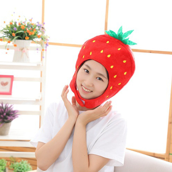 Sweet Women Girls Funny Strawberry Plush Hat Embroidery Fruits Hood Cap Mask Party Cosplay Costume Photo Props Toys