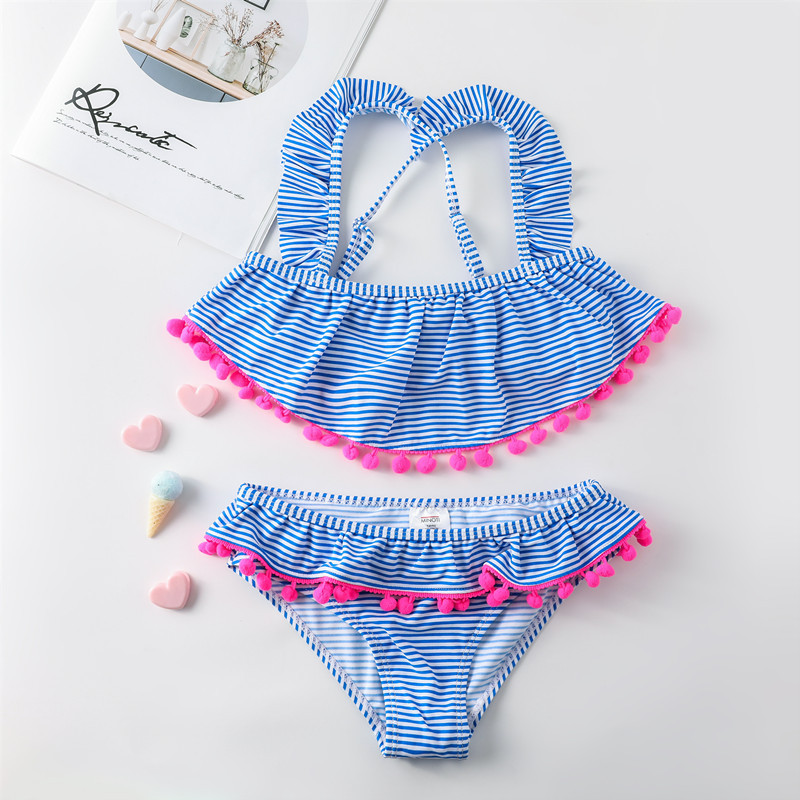 2019 Europe And America Brand Children Split Type Bikini Swimsuit Craft Pom Lace Girls Stripes 3-14-Year-Old