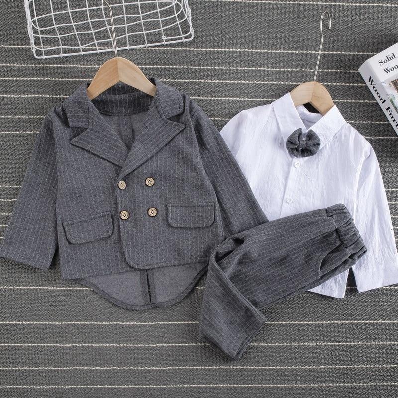Roupa de primavera masculina, calça listrada de algodão para crianças