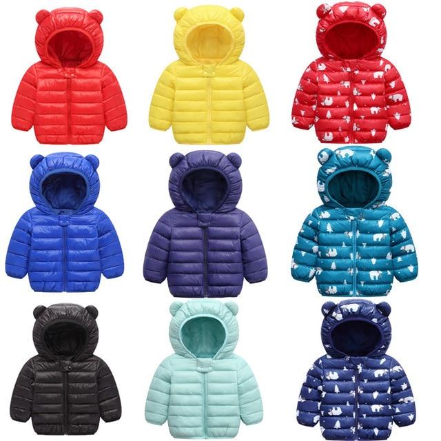 אביב סתיו אור ילדי חורף מעילי ילדים כותנה למטה מעיל תינוק מעיל דובון בנות הלבשה עליונה נים ילד מעיל