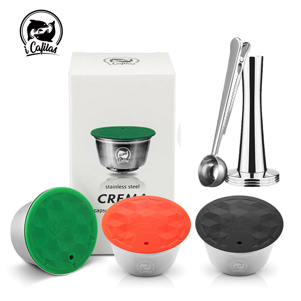 Reusable Coffee Capsule Dolci Gusto Stainless Steel Coffee & Milk Filter For Nescafe Dolce Gusto Capsula With Plastic Lid Tamper