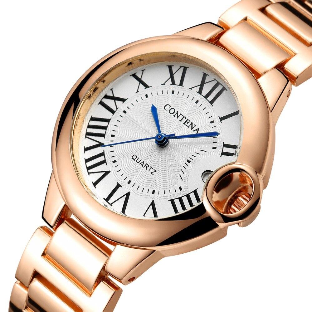Contena Women Watch 2020 Luxury Stainless Steel Strap Watch for Women Quartz Women Watches Ladies Watch Women Clock Reloj Mujer