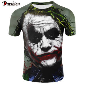 Male Tshirt Tops Short-Sleeve Joker Face Clown 3d-Printed Casual Summer Tee Newest