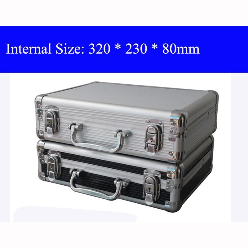 Aluminium gereedschapskoffer koffer gereedschapskist Archiefdoos Slagvaste veiligheidskoffer apparatuur cameratas met voorgesneden schuim, gratis verzending