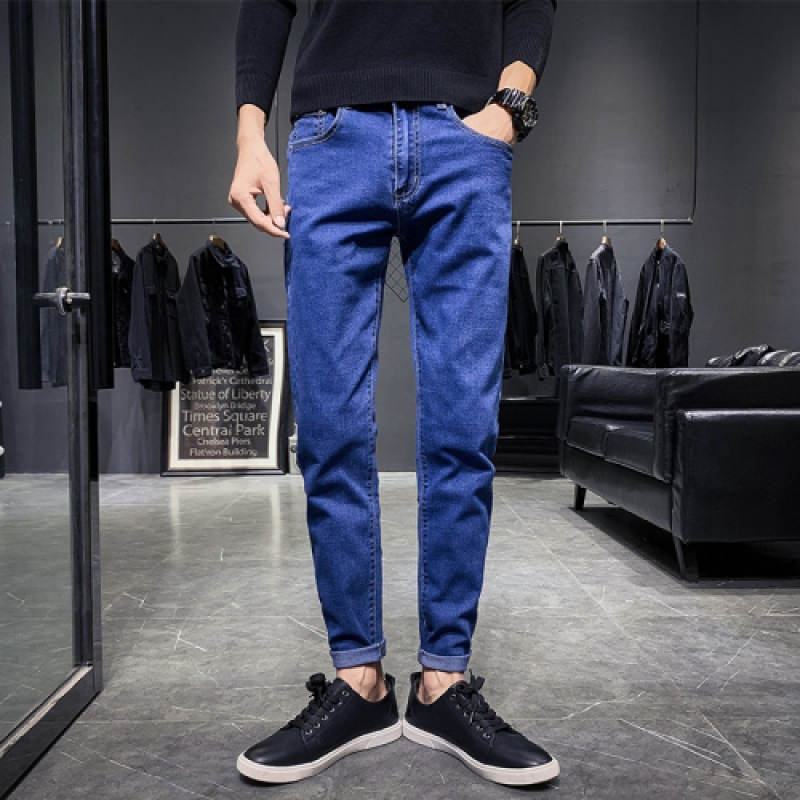 Autumn Cowboy Trousers Men Loose-Fit Popular Brand Versatile Straight-Cut Ankle-length Black Casual Slim Fit Pants Korean-style