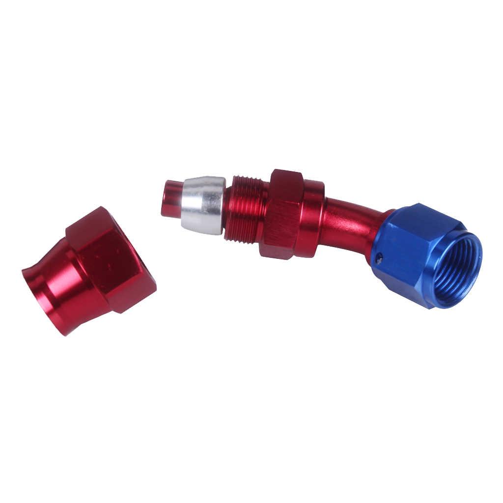 Un adaptateur de raccord d'extrémité de tuyau de carburant d'huile pivotant de 8 45 degrés en aluminium anodisé rouge/bleu