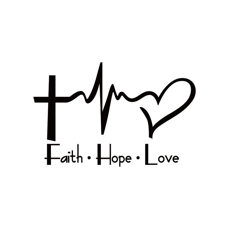 Car Sticker Faith Hope Love Cartoon Jesus Christian Religious Bible Verse For Car Window Body Decoration Vinyl Decal,15cm*9.6cm