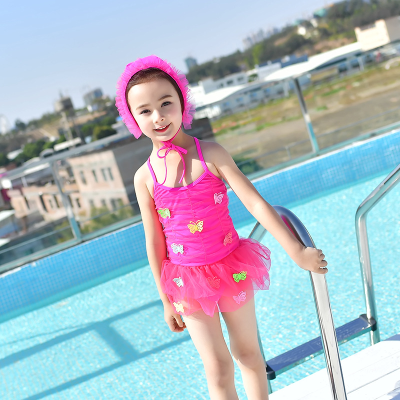 18 New Style Hot Sales One-piece Swimming Suit Send Swimming Cap Sweet Cute Princess Hot Springs Solid Color Butterfly Girls KID