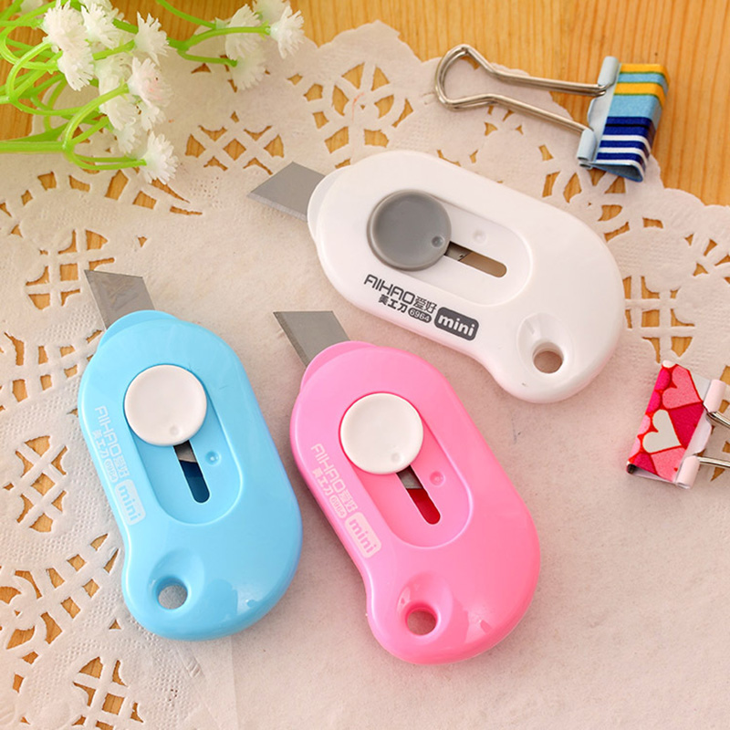 Cute Solid Color Mini Portable Utility Knife Paper Cutter Cutting Paper Express Box Opener Office Letter Cutter